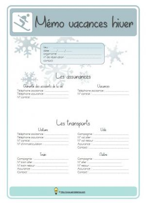 Memo vacances hiver bleu